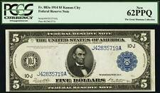 Fr. 883a $5 1914 Federal Reserve Note PCGS New 62PPQ.