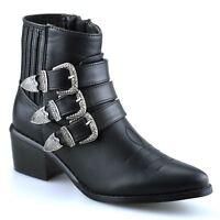 Ladies Womens Mid Block Heel Chelsea Ankle Zip Up Cowboy Biker Boots Shoes Size