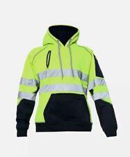 Hi Viz Vis High Visibility Jacket 3 Zips Hoodie Work pullover Hooded Top