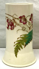 New listing 1882 Victorian Antique Cylindrical Vase - England Floral Hand Painted (over Xfr)
