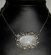 Statement Handmade 45Ct BLUE FIRE MOONSTONE 34x19mm 925 Silver Necklace ~ P0081