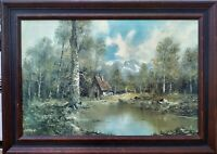 """Oil Painting """"SECLUSION"""", OIL ON CANVAS by LORENZ; 1950-1965 +/- FRAMED"""