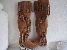 Sam Edelman Camel Suede  Over Knee Uri Fringe Boots Moccasins  Sz 6.5