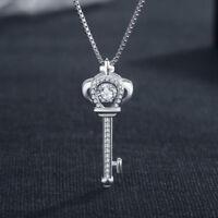 Womens Genuine 925 Sterling Silver Swinging Hyun Dance Zircon Cross Key Necklace