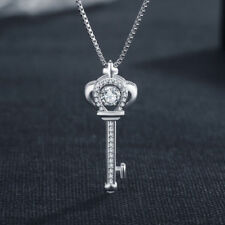 Women Lady Fashion 925 Sterling Silver Swinging Hyun Dance Zircon Key Necklace