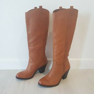 Lucky Brand 37/7 Right 36.5/6.5 Left Tan Leather Heeled Knee Hi Boots Mismatched
