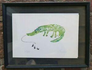 Vintage P. FRENCH Anteater PRINT 1969 - Polly French, Signed ANTS