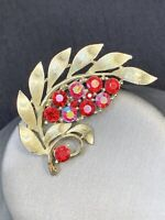 Vintage Pin Brooch Lisner Signed Red Ab Glass Rhinestone leaf Style  Gold Tone