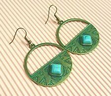 Antique Gold Tone Round Green & Blue Drop Earrings *NEW*