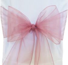 100x Dusty pink Organza Chair Sashes Bow Wedding Banquet Party Ceremony Decor
