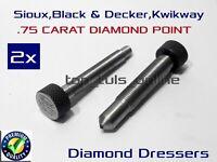 "BLACK & DECKER 2 x DIAMOND DRESSER VALVE SEAT STONE  CRYSTAL POINT 3/8"" X 24 TPI"