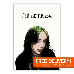 Billie Eilish Poster Print Art Bedroom Picture A4 HD High Quality Gift Gloss NEW