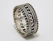 Wide Sterling silver band Granulation design 10mm wide Heavy solid made Size 9