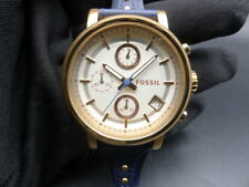 New Old Stock - FOSSIL ES3838 - Chronograph Navy Leather Strap Quartz Lady Watch