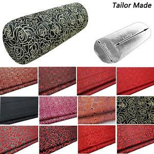Bolster Cover*Flora Rose Rayon Brocade Neck Roll Long Tube Yoga Pillow Case*BA3