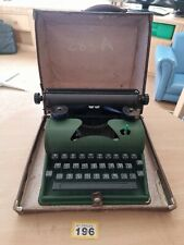 1950s Green Metal Childs Typewriter in Case Prop Retro Working but needs ribbon
