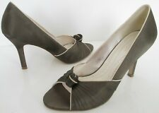 PHASE EIGHT SIZE 5 WOMENS BRONZE BROWN SATIN SLIP ON PEEPTOES COURT SHOES HEELS