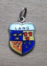 Lang Coat of Arms / Family Crest Silver Plated Enamel Charm
