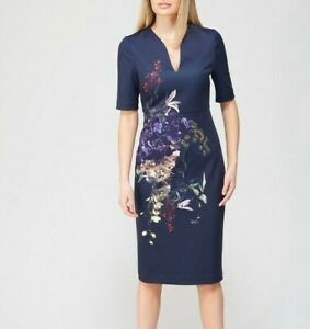 Ted Baker Pomegranate Midi Bodycon Dress - Navy - Size 3 - UK 12