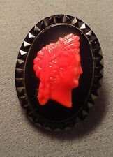 Red  & Black Glass faceted Vintage CAMEO Roman Maiden C clasp Free Ship