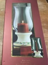 """Lenox """"Holiday"""" Hurricane Lamp With Pillar Candle, New in Box"""