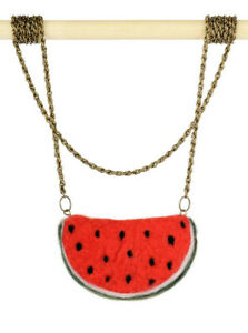 Watermelon pendant, red fruit jewelry in kawaii style, sweet sixteen necklace