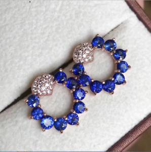 1.90Ct Round Cut White & Blue Sapphire Stud Earrings 14K Rose Gold Finish