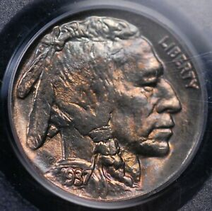 1937 BUFFALO NICKEL PCGS MS 65 BEAUTIFULLY TONED IN  RASPBERRY BLUE AND COPPER