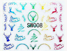 Merry Christmas Holo Rainbow Reindeer Xmas Tree Wreath 3D Nail Art Sticker Decal