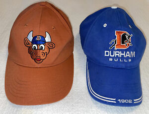 Durham Bulls Baseball cap/hat lot,Set Of Two, Both Adjustable, Brown & Blue, GUC