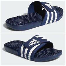 Adidas Addisage Mens Sz 13 White & Blue Slides Sandals