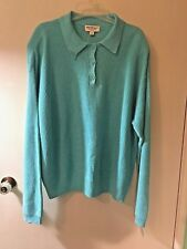 Norm Thompson Sweater Henley Pullover Turquoise Blue Women's 1X  Linen Blend