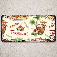 LP0170 Old Vintage Tropical Hawaii Beach Sign Auto License Plate Home Gift Decor