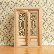 1:12 Dollhouse Miniature Wood Double Door Can Be Painted NEW