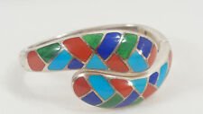 WK 925 Native American Style Lapis Turquoise Emerald Coral Inlay Bracelet 56 Grm