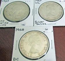 Canada 1957  one WL ,  1957 Regular & 1958 BC Totem /Death Dollar Trio Variety