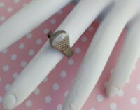 Handmade Interesting Nail Design Vintage Ring Silver Tone Golf Tee Artsy Rustic