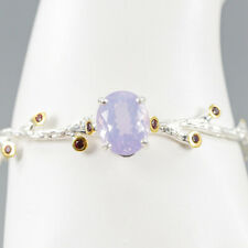 Top 14ct Natural Lavender Amethyst 925 Sterling Silver Bangle Inches 2.5/BA01404