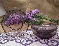 """Vintage Morgantown Glass Crinkle 5"""" Dessert Dish/Finger Bowl """"Violet"""" Set of 3"""