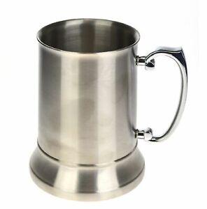 NEW BEER MUG STAINLESS STEEL Drinking Cup Handle Stein Tankard Cold Beverage
