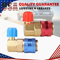 2x HVAC A/C R134A Refrigerant Manifold Low High Quick Connector Adapter Coupler
