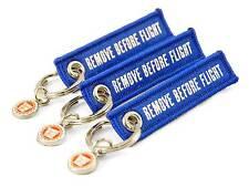 Remove BEFORE FLIGHT en ambos lados mini 3er set llavero azul Blue Key
