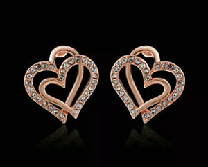 18K REAL ROSE GOLD FILLED HEART STUD EARRINGS MADE WITH SWAROVSKI CRYSTALS HR8