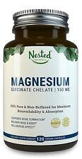 Nested Magnesium Glycinate Chelate (150MG) 100% Pure Non Buffered 120 Capsules