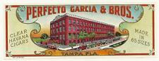 "Lovely Perfecto Garcia & Bros. Outer Cigar Box Label Tampa, Florida ""Small Hole"""