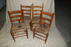 Vintage Ladderback Chairs Handmade Burlap and Vinyl seat, 3 left