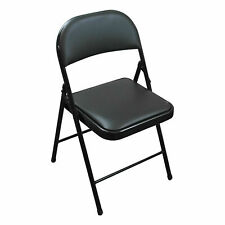 BLACK METAL FOLDING CHAIR FOLDABLE COMPUTER DESK OFFICE PARTY BACK REST CHAIRS