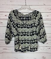 En Creme Anthropologie Women's L Large Black 3/4 Sleeves Spring Top Blouse Shirt