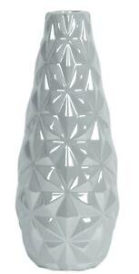 Grey Ceramic Flower Vase Lustre Tear Drop Decorative Vase Geometric Design 25cm