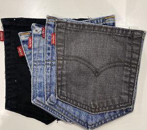 5 Vintage Levis Denim Pockets Mixed Colour Close Cut